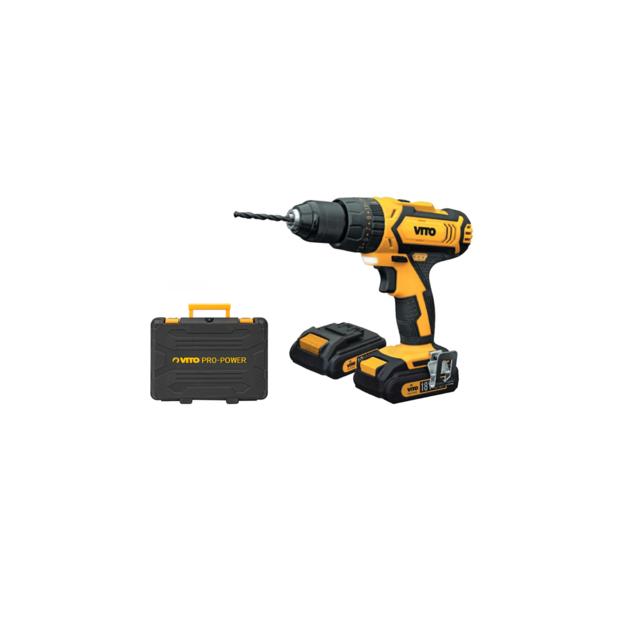 VITO PRO-POWER - Perceuse visseuse sans fil 18V VITO POWER + 2 batteries Lithium 2.0 Ah + mallette avec 18 accessoires