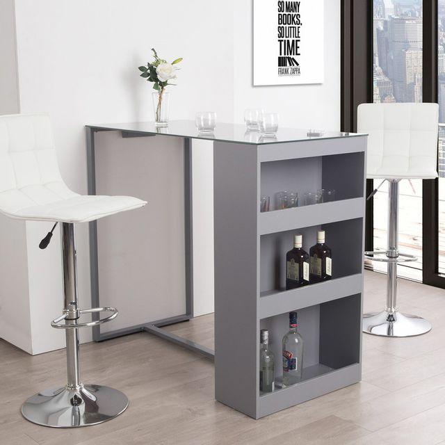 Table De Bar Avec Rangement Et Plateau En Verre Trempe H 105cm