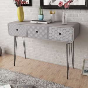 vidaxl commode table d 39 entr e 3 tiroirs gris pas cher achat vente commode rueducommerce. Black Bedroom Furniture Sets. Home Design Ideas