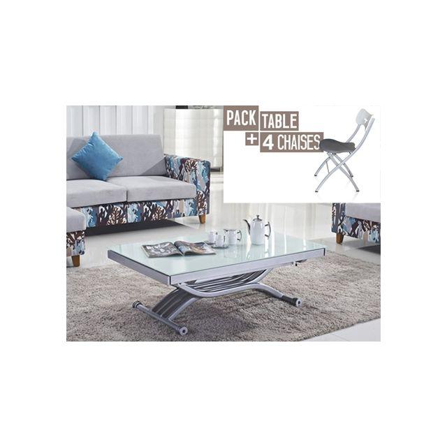 Giovanni Table relevable Zen Blanc + 4x Chaises Pegasso