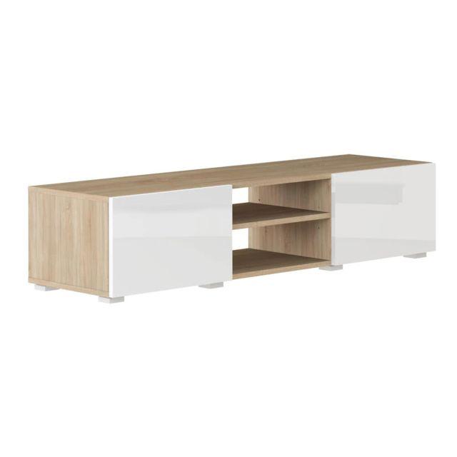 Meuble Tv 2 niches 2 tiroirs en bois L140xP42xH31cm Glossy - Blanc/Chêne