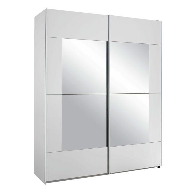 Armoire 2 portes avec miroir 175x210x59cm - blanc