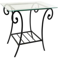 Table fer forge et verre achat table fer forge et verre - Table de chevet fer forge ...