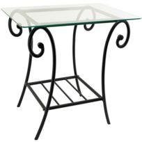 dcb4ee4e909666 GÉNÉRIQUE - Table de chevet Metal et Plateau Verre Table de nuit lit Design  Noir fer