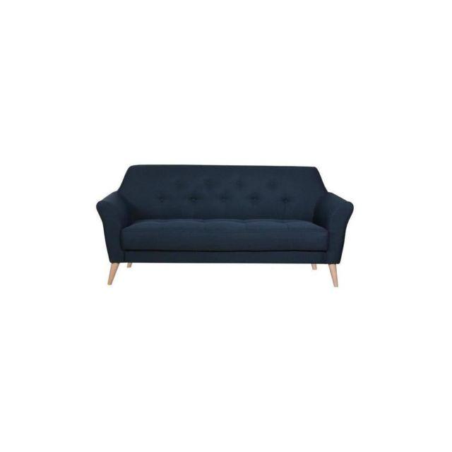 Sans Marque Sonata Canape Droit Fixe 3 Places - Tissu Bleu - Scandinave - L 188 X P 85 Cm