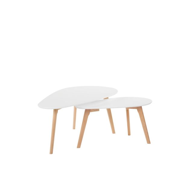 BELIANI Lot de 2 tables basses blanches et bois clair FLY III - blanc