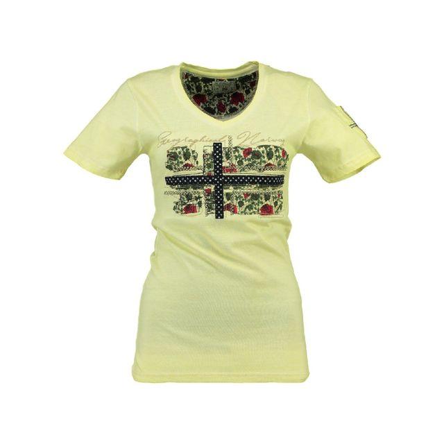 893e72d6d9410 Geographical Norway - T-shirt Femme Jbeautà© Jaune - pas cher Achat   Vente  Tee-shirts, tops - RueDuCommerce