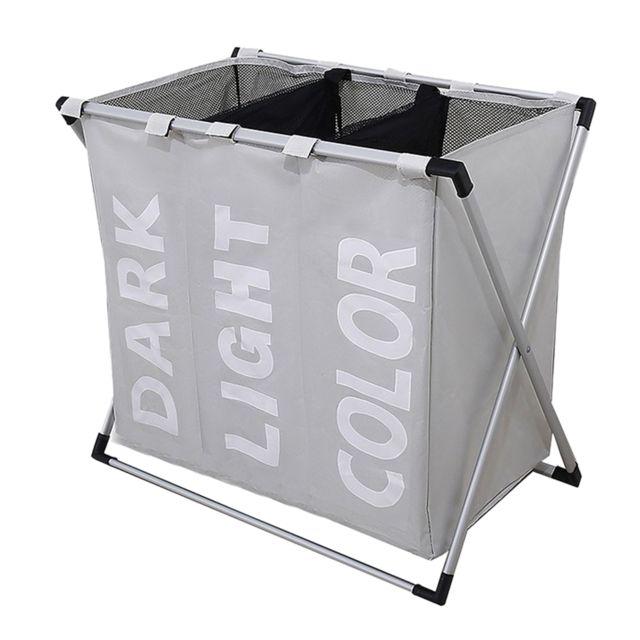 Panier à linge panier panier sac de rangement cadre en métal support libre gris clair