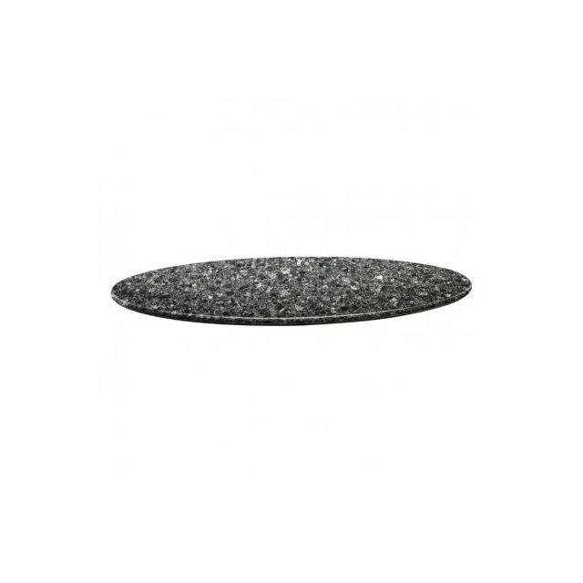 Topalit Plateau de table rond wengé 80cm - Granite noir 800 Ø, mm