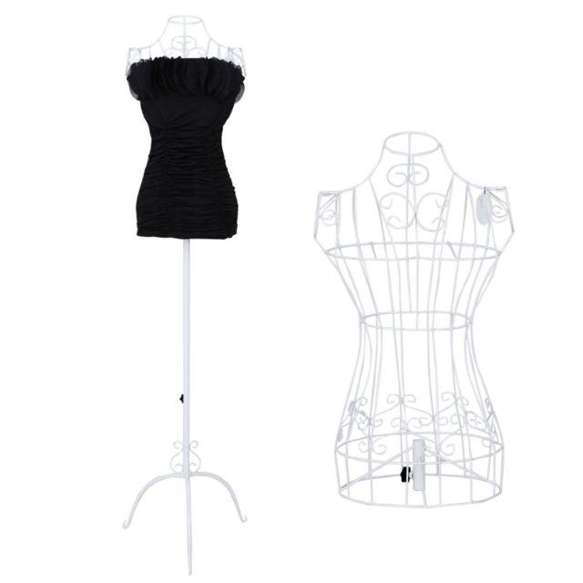 helloshop26 buste de couture hauteur r glable mannequin femme porte v tement blanc 3512001. Black Bedroom Furniture Sets. Home Design Ideas