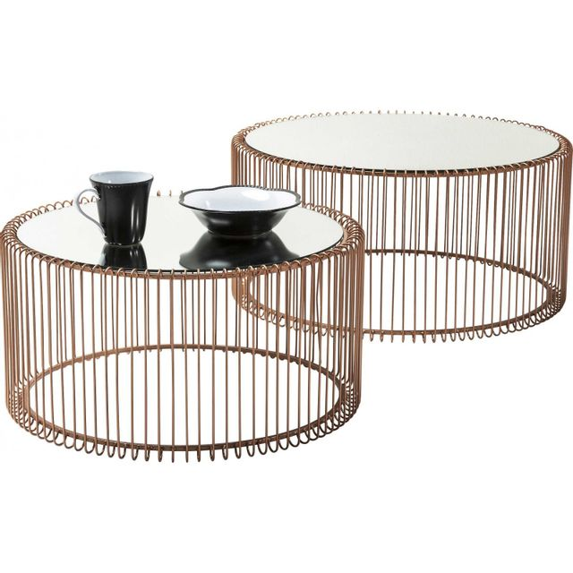 Karedesign Tables basses rondes Wire cuivre set de 2 Kare Design