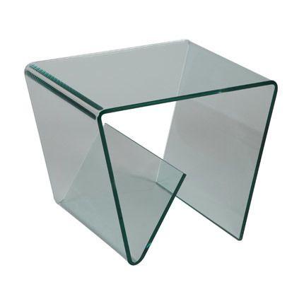 Petite table basse porte revues en verre trempé design