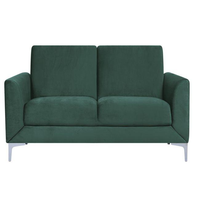 BELIANI Canapé 2 places en velours vert FENES
