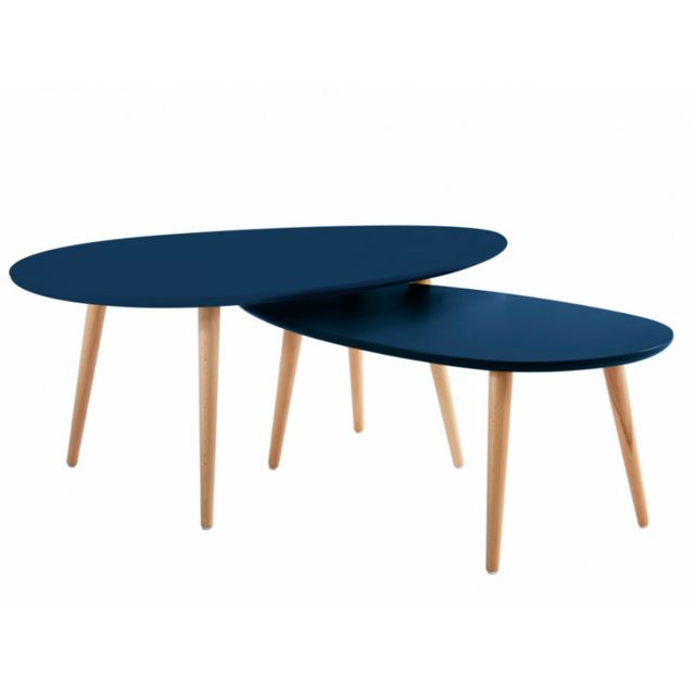 MARQUE GENERIQUE - Tables basses gigognes PAMY - MDF laqué & hêtre massif - Bleu