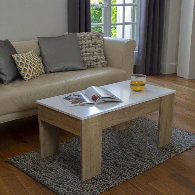 Idmarket Table Basse Avec Plateau Relevable Bois Blanc Et