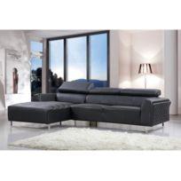HABITAT ET JARDIN - Canapé d'angle cuir reconstitué/PVC Broadway - 4 places - Noir - Angle gauche