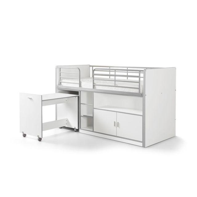 Vipack Lit Mezzanine + Bureau + Rangement 90x 200 Bonny Blanc