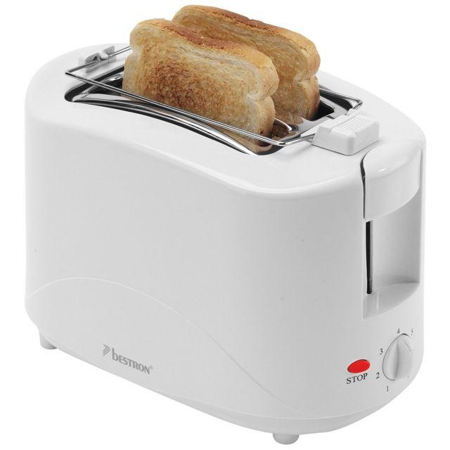BESTRON Toasteur - 750W - avec chauffe croissant Blanc