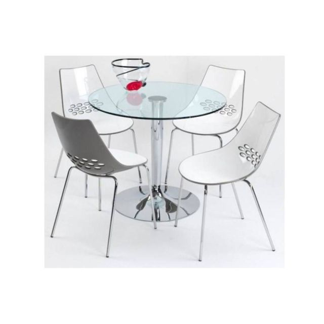 Inside 75 table repas ronde planet 90x90 en verre for Miroir 90x90