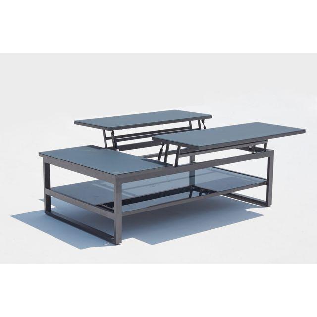 CONCEPT USINE Brasilia : table basse de jardin rectangulaire & dépliable en aluminium