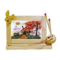 No Name - Cadre emploi du temps Modèle lapin - Avec porte crayons - Bois naturel à décorer