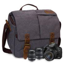 Folur - Toile imperméable de sac d'appareil-photo de Dslr Slr avec l'intérieur antichoc Gris