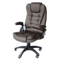 HOMCOM - Chaise de bureau pivotante fauteuil direction de massage electrique massant relaxation chocolat