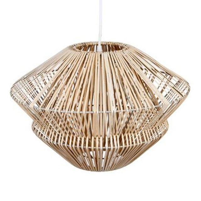 """Paris Prix - Lampe Suspension """"Rotin"""" 45cm Beige"""
