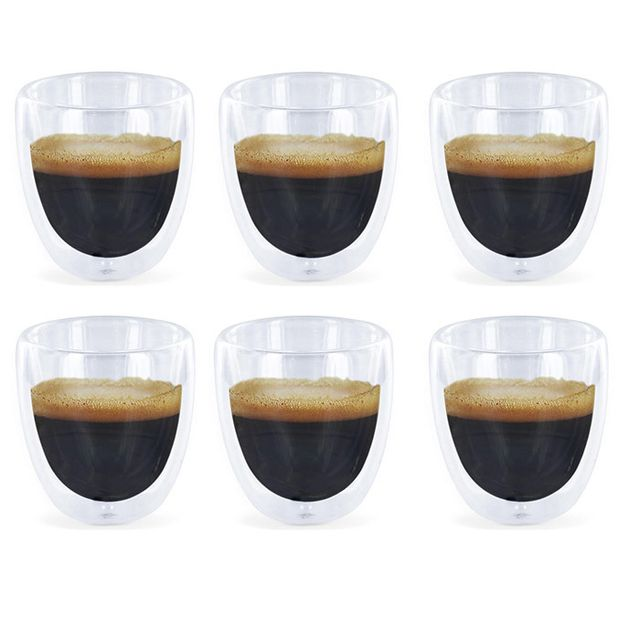 touslescadeaux 6 verres expresso double paroi tasses caf design transparent pas cher. Black Bedroom Furniture Sets. Home Design Ideas