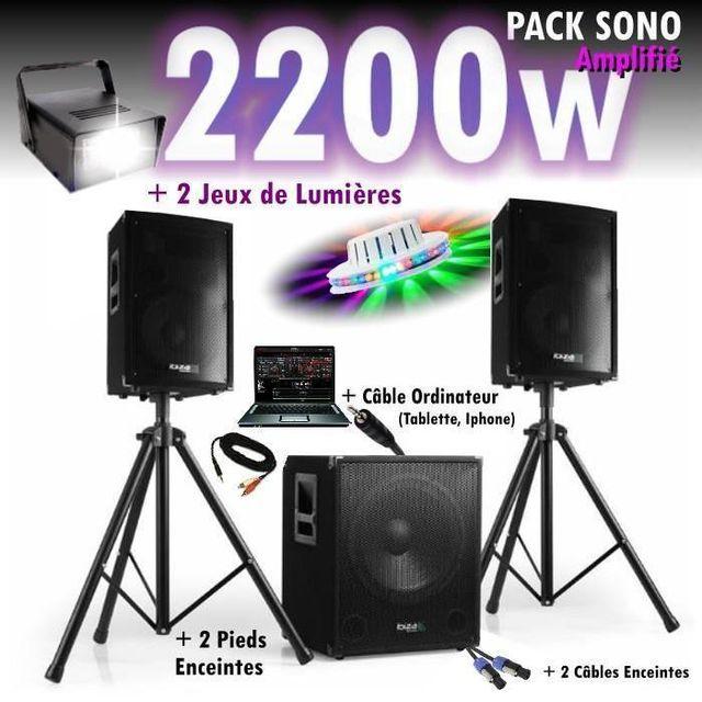 Ibiza Sound Pack sono dj 2200w cube 1512 avec caisson - encentes - pieds - cables - jeux de lumières led pa dj led light sound