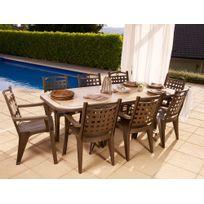 """Grosfillex - Salon de jardin """"Amalfi"""" bronze + 8 fauteuils Bora bronze"""