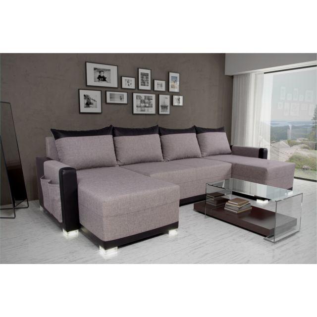 Sofa Story - Canapé d'angle convertible Bully U Gris / Noir 139cm x 304cm x 85cm - Réversible