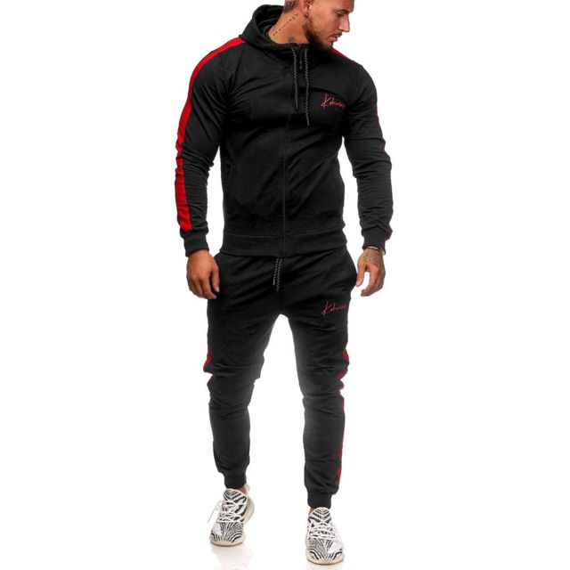 MONSIEURMODE Ensemble jogging homme Survêtement K3392 noir, Rouge