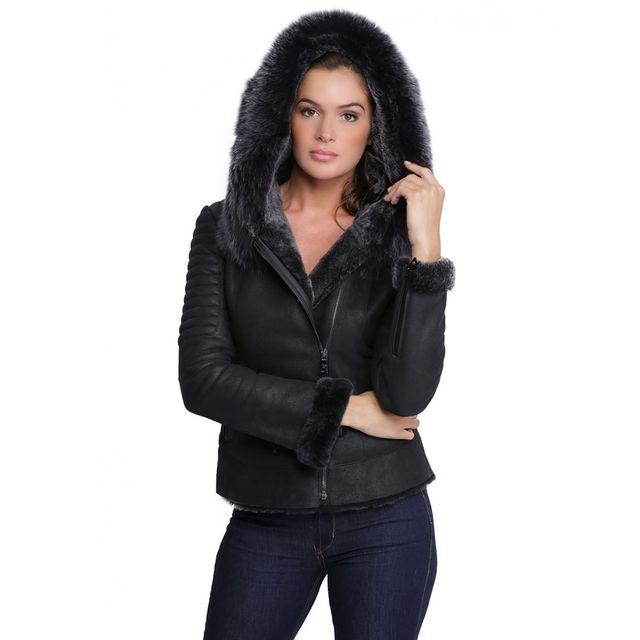 Veste en cuir avec capuche femme pas cher