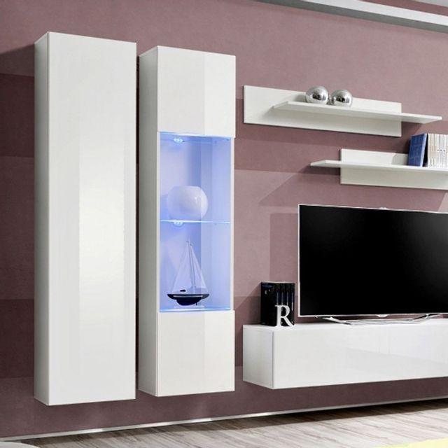Meuble Tv Mural Design Fly V 260cm Blanc