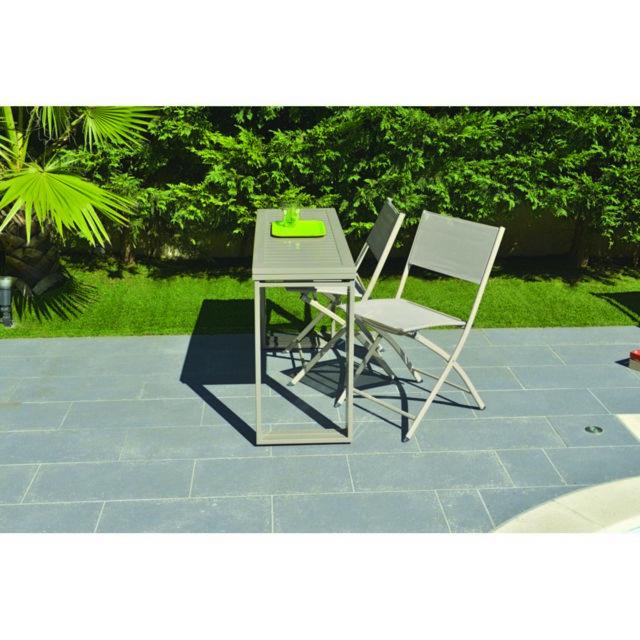 Table console rectangulaire 2 en 1 Melbourne en acier L.122 x l.81/ 40 x H.74 cm. Structure en acier et plateau en alumi