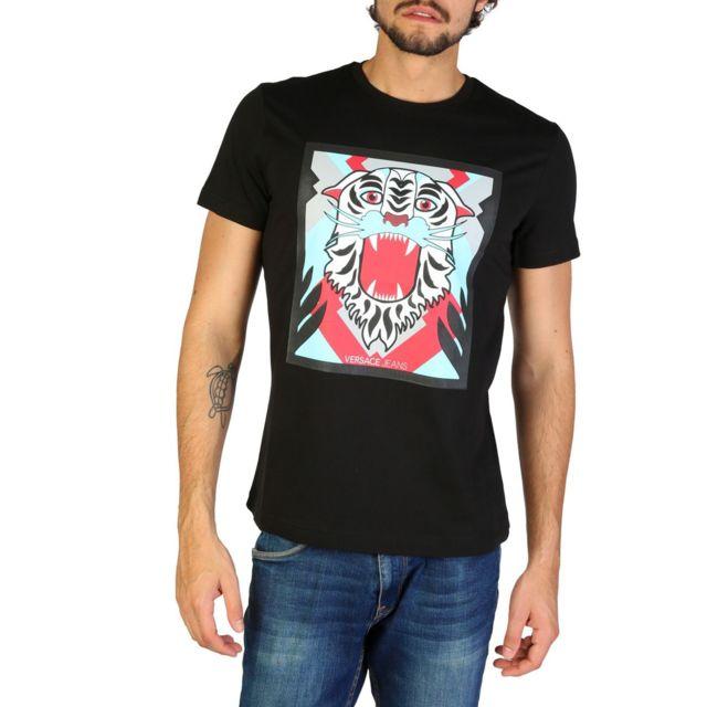 d33d2b7c35a8 Versace - Jeans - T-shirt imprimé tigre - Noir - pas cher Achat ...