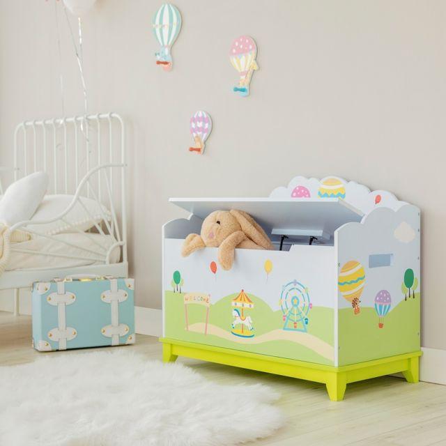 Coffre à jouets Montgolfière en bois chambre d\'enfant bleu vert pastel  TD-13123A