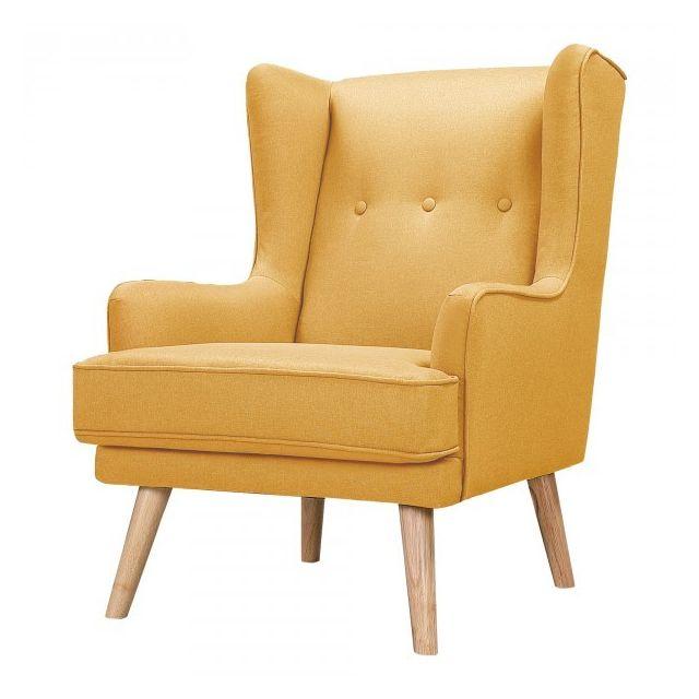 Moloo Gustav-fauteuil scandinave tissu curry pieds bois