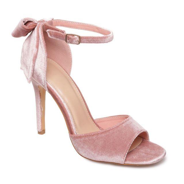 Lamodeuse Sandales roses en velours à talon détail noeud
