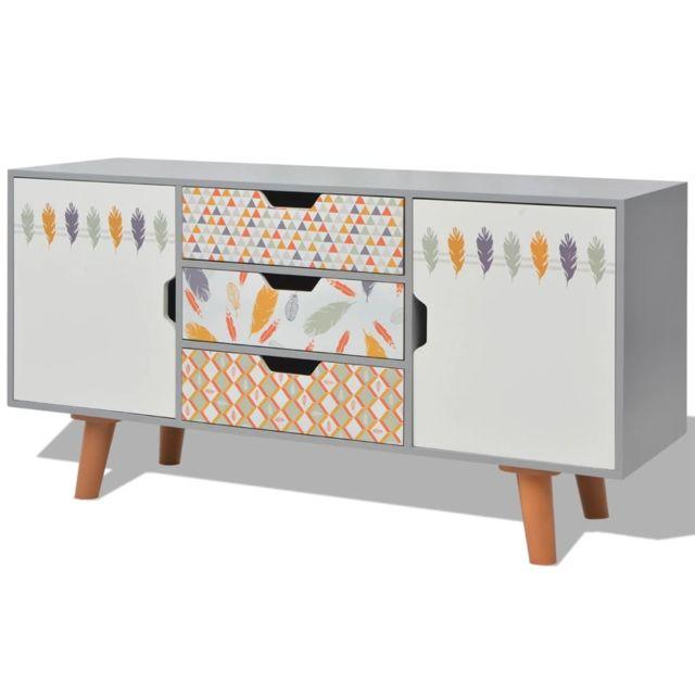 Vidaxl Buffet Console Meuble de rangement salon 110 x 35 x 57 cm Mdf Gris