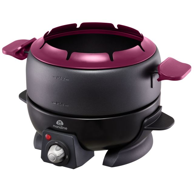 MANDINE Appareil à fondue - MFD208-17 - Noir/Violet Repose fourchettes à fondue - Capacité de 1.8 L - Température réglable - Poignées de transport avec cuve amovible - Accessoires inclus : bols empilables, support de rangement - 8 fourchettes à fondue ave