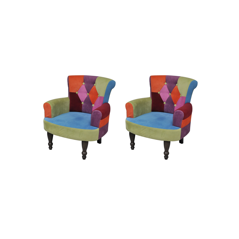 Rocambolesk Superbe Lot de 2 fauteuil de style France avec accoudoirs design patchwork multi couleur Neuf