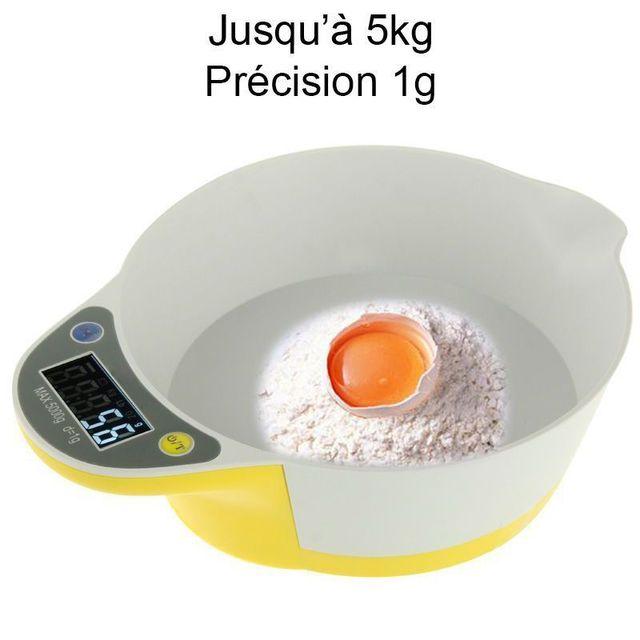 Yonis Balance de cuisine électronique bol récipient culinaire 1g à 5kg