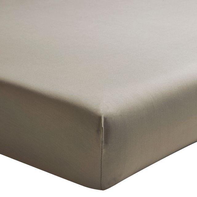 Essix Percale coton Drap Housse Double Taupe - 2 x 80 x 200 cm