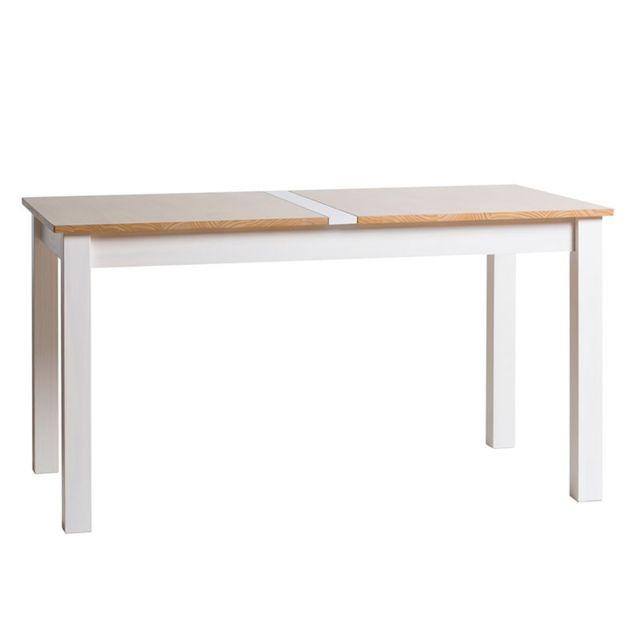 Tousmesmeubles Table de repas Blanc et Bois - Emie n°1