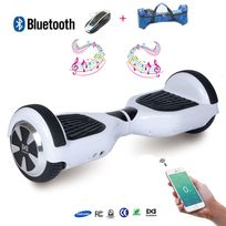 COOL AND FUN - COOL&FUN Hoverboard full option Batterie Samsung Enseigne Bleutooth, Scooter électrique Auto-équilibrage,gyropode 6,5 pouces Blanc