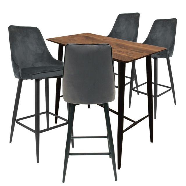 Altobuy Tierno - Ensemble Table Haute + 4 Tabourets Velours Gris