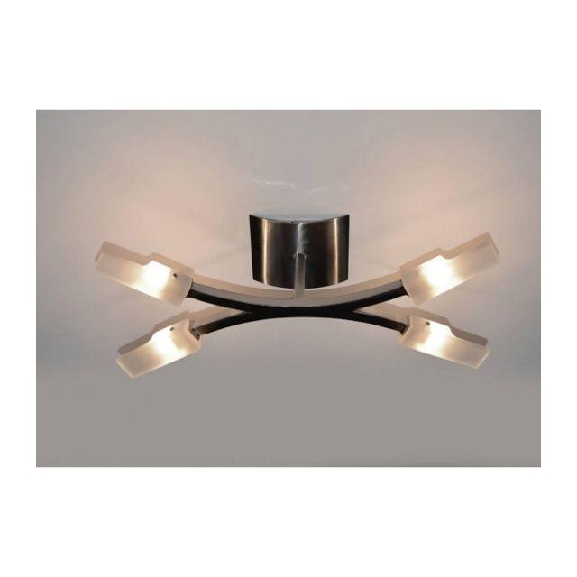 Luminaire Center Plafonnier Arco 4 Ampoules G9, nickel satiné hauteur 16 Cm