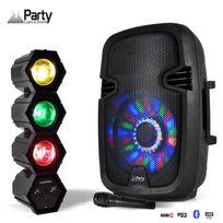 "Party Sound - Enceinte mobile batterie Karaoke 8"" Led 300W Usb/BT/FM + Micro + Effet Chenillard Rjv"